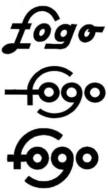 Foto 2. Evolución de la palabra Fogo como logotipo de la marca.