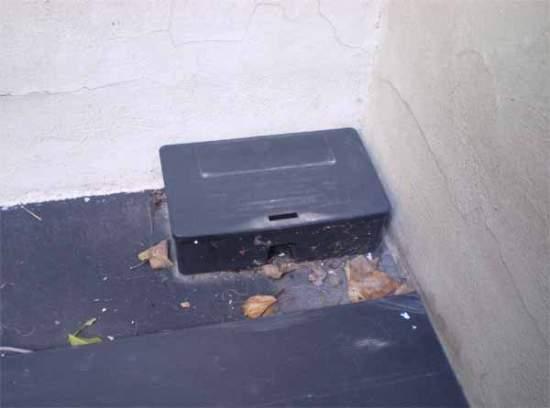 Foto 1. Cebadero para rodenticida en un rincón de la entrada de una casa./ Desinsectador marzo-2013