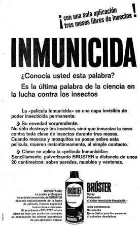 Anuncio del insecticida Brúter de inorgosa aparecido en 1961 en el periódico La Vanguardia.