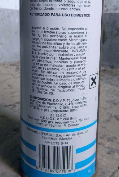 Foto 3. Detalle de la etiqueta del bote de aerosol Flop./ Desinsectador 23-06-2013