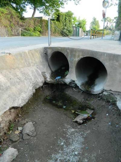 Foto 1. Conducciones para desaguar el agua de lluvia./ Desinsectador 07-2013