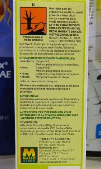 Foto 2. Insecticida para el picudo de la palmera de Comercial Massó./ Desinsectador 07-2013