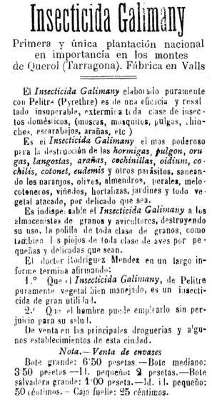 Foto 3. Anuncio de Insecticidas Galimany publicado en el Diario de Tarragona del 23-06-1915.