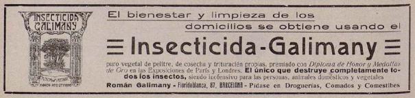 Foto 4. Anuncio publicitario del Insecticida Galimany publicado en la revista El Cine del 29 de agosto de 1914.