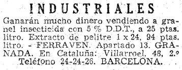 Foto 11. Anuncio publicitario publicado en el periódico La Vanguardia en 1952.
