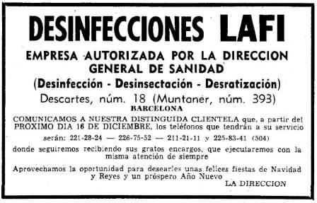 Foto 2. Anuncio de Desinfecciones Lafi publicado en el periódico La Vanguardia el 15 de diciembre de 1967.