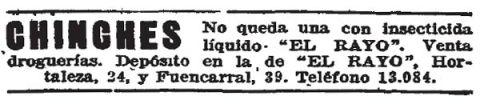 Foto 1. Anuncio publiciario publicado en el periódico ABC el 10 de septiembre de 1927, página 36.