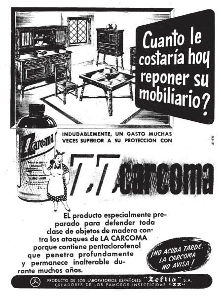 Foto 4. Anuncio publicitario de ZZ Carcoma con pentaclorofenol del d12 de mayo de 1955, página 29.