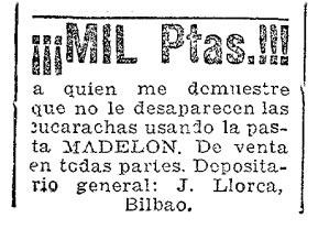 Foto 1. Anuncio publicitario aparecido en el periódico ABC el 13 de junio de 1923, página 27.